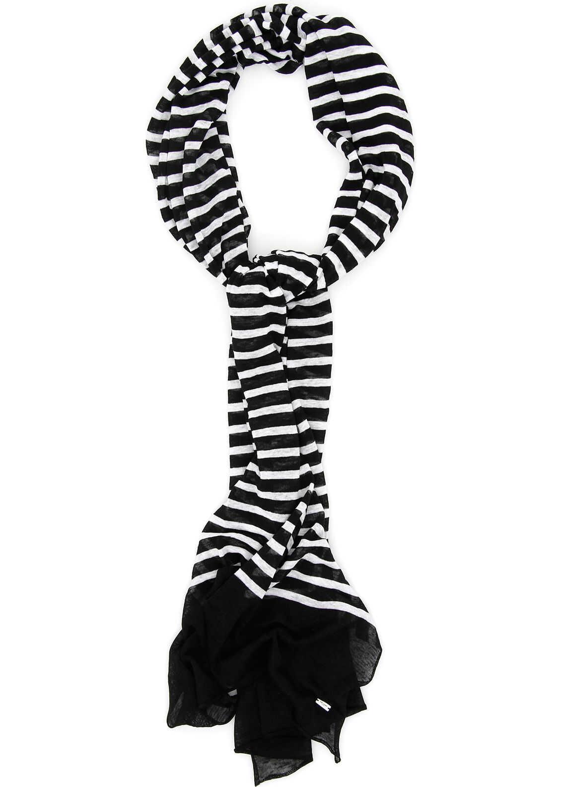 Saint Laurent Striped Scarf BLACK IVORY