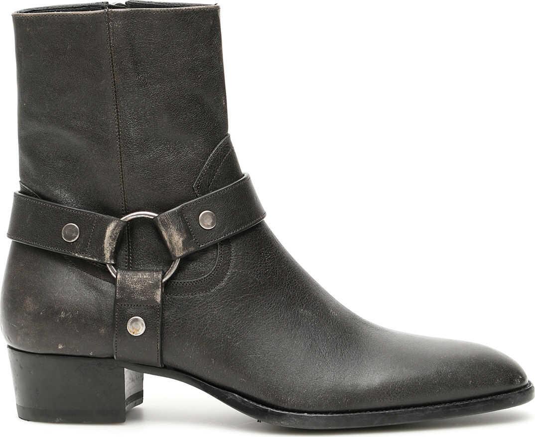 Saint Laurent Wyatt 40 Harness Boots SHARCOAL