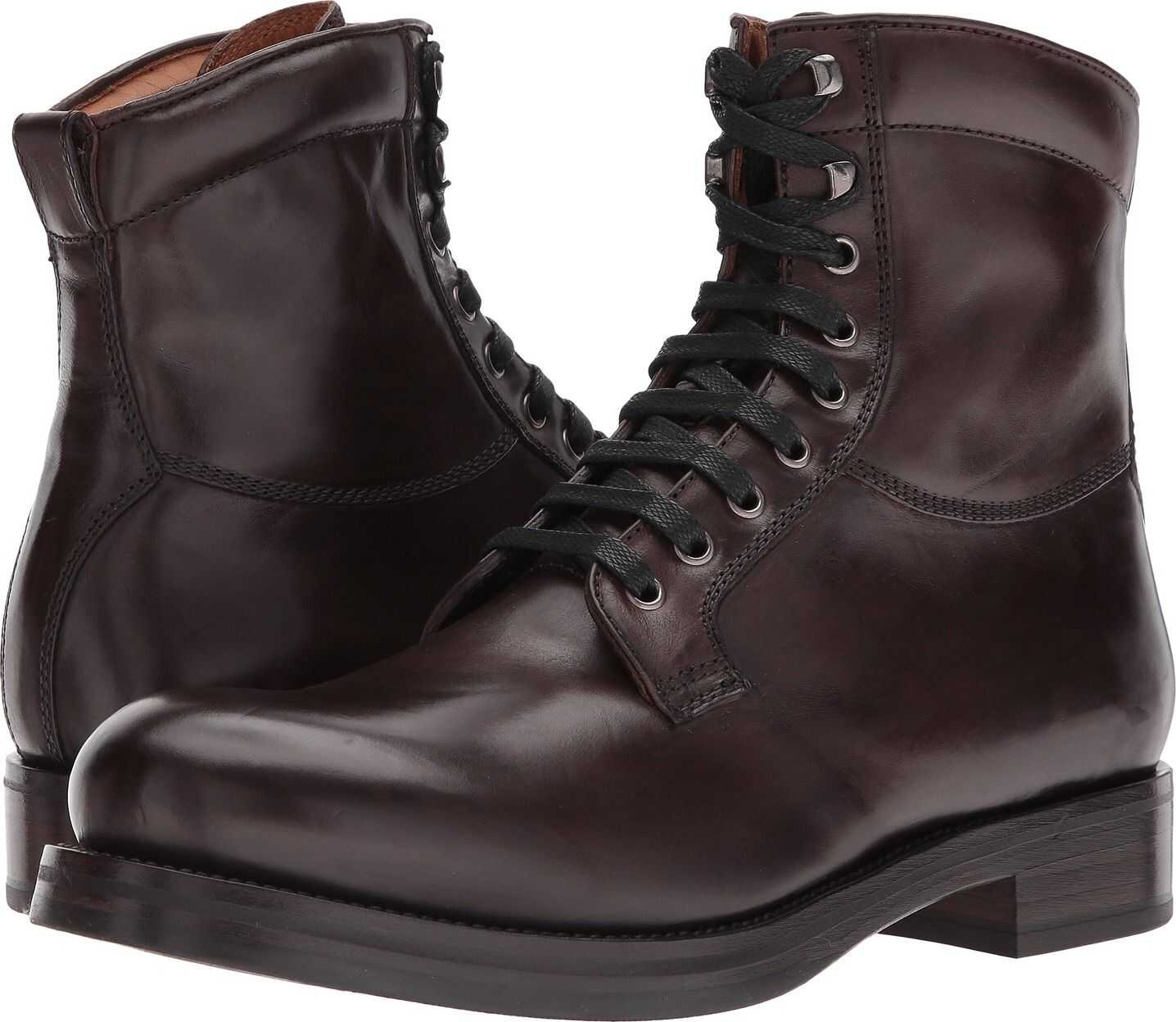 Frye Carter Lace-Up Dark Brown Veg Tan Horse