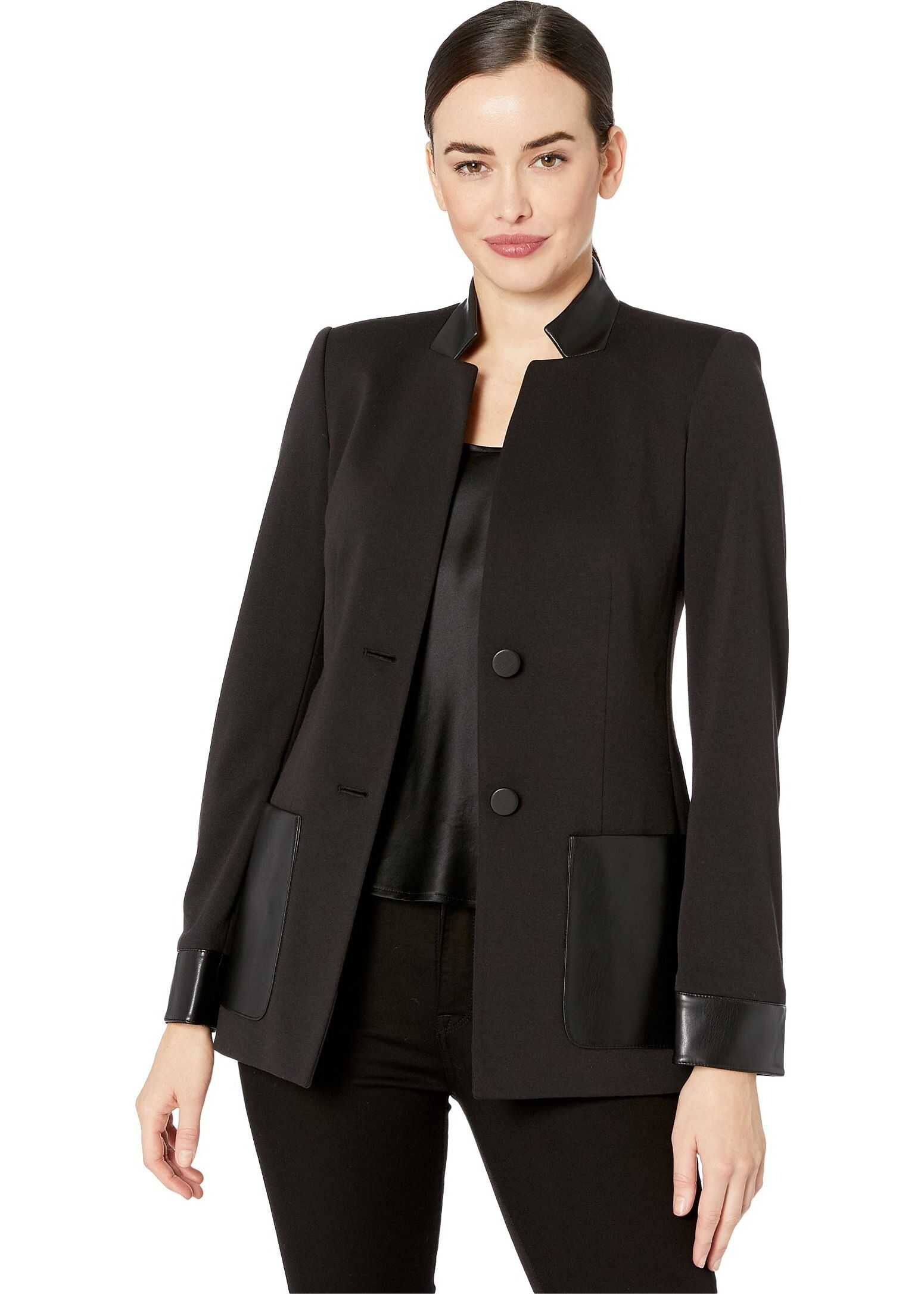 Calvin Klein PU Detail Two-Button Jacket Black