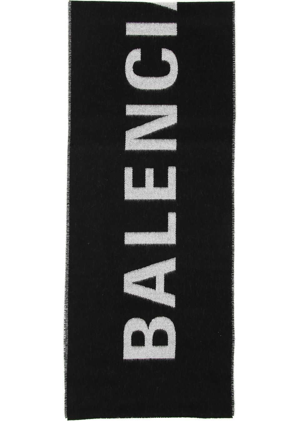 Balenciaga Jacquard Logo Scarf BLACK WHITE