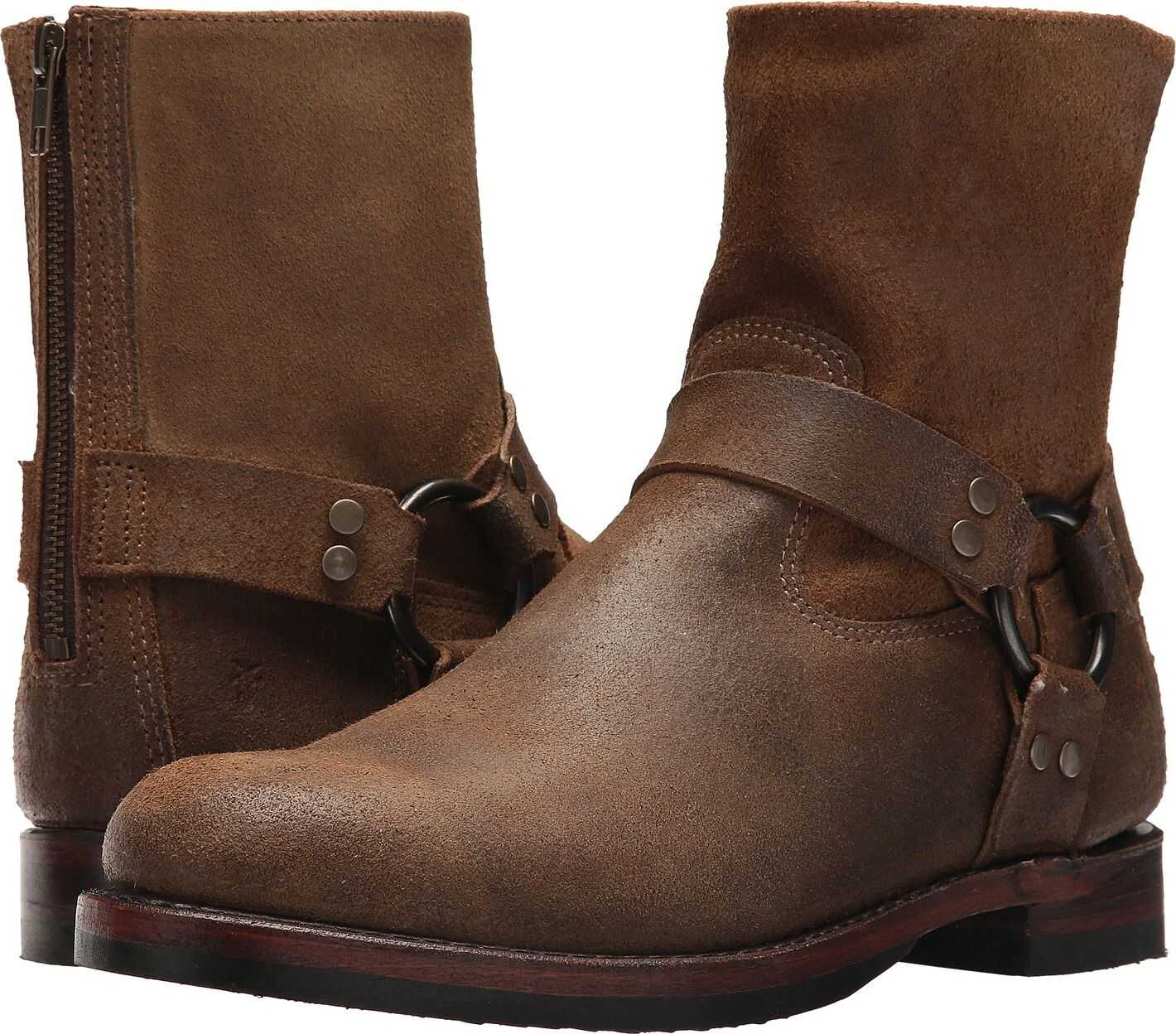 Frye John Addison Harness Back Zip Chestnut Waxed Suede