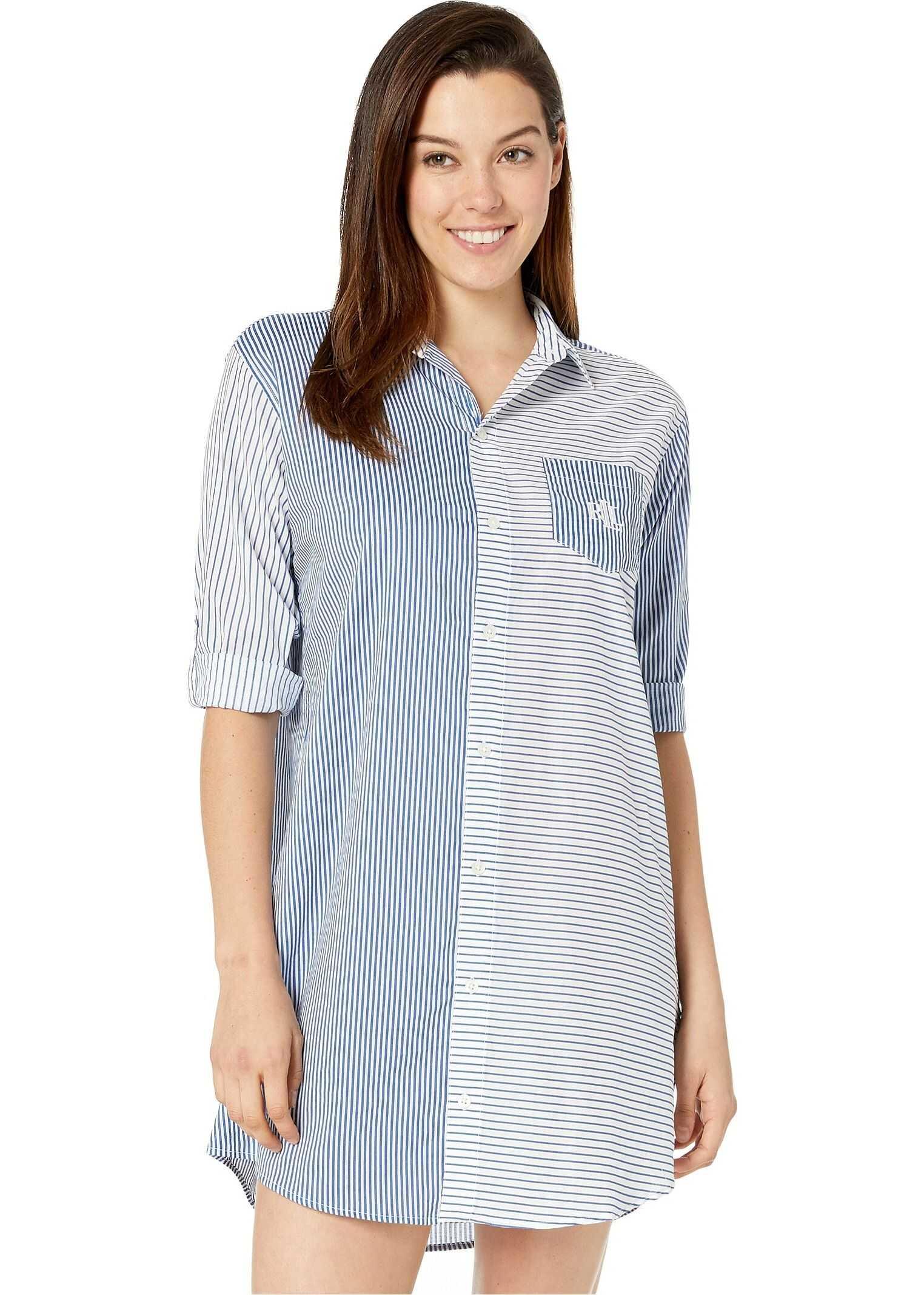 Ralph Lauren 3/4 Sleeve Roll Tab Sleeve His Shirt Sleepshirt Blue Stripe
