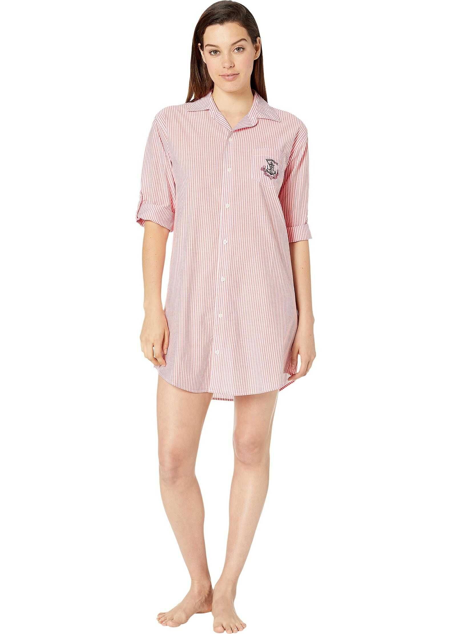 Ralph Lauren 3/4 Sleeve Roll Tab Sleeve His Shirt Sleepshirt Red Stripe