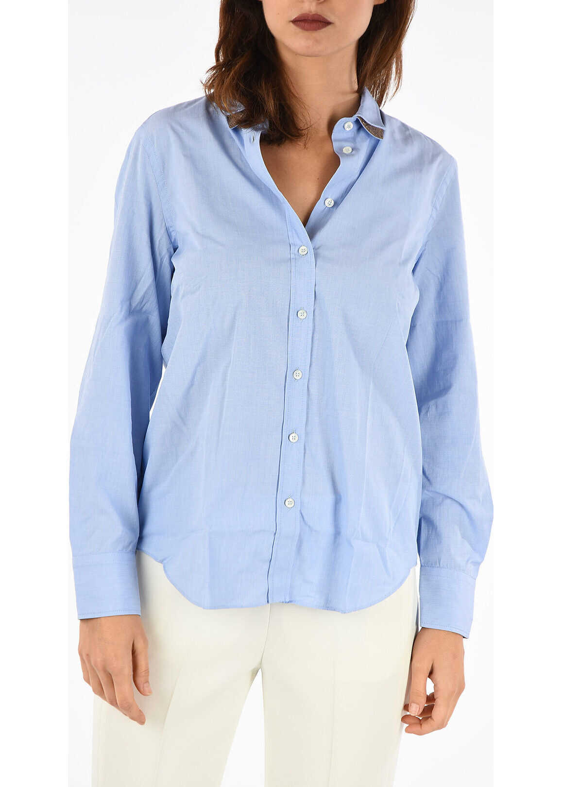 Brunello Cucinelli Shirt with Embroidery Brass Monile BLUE