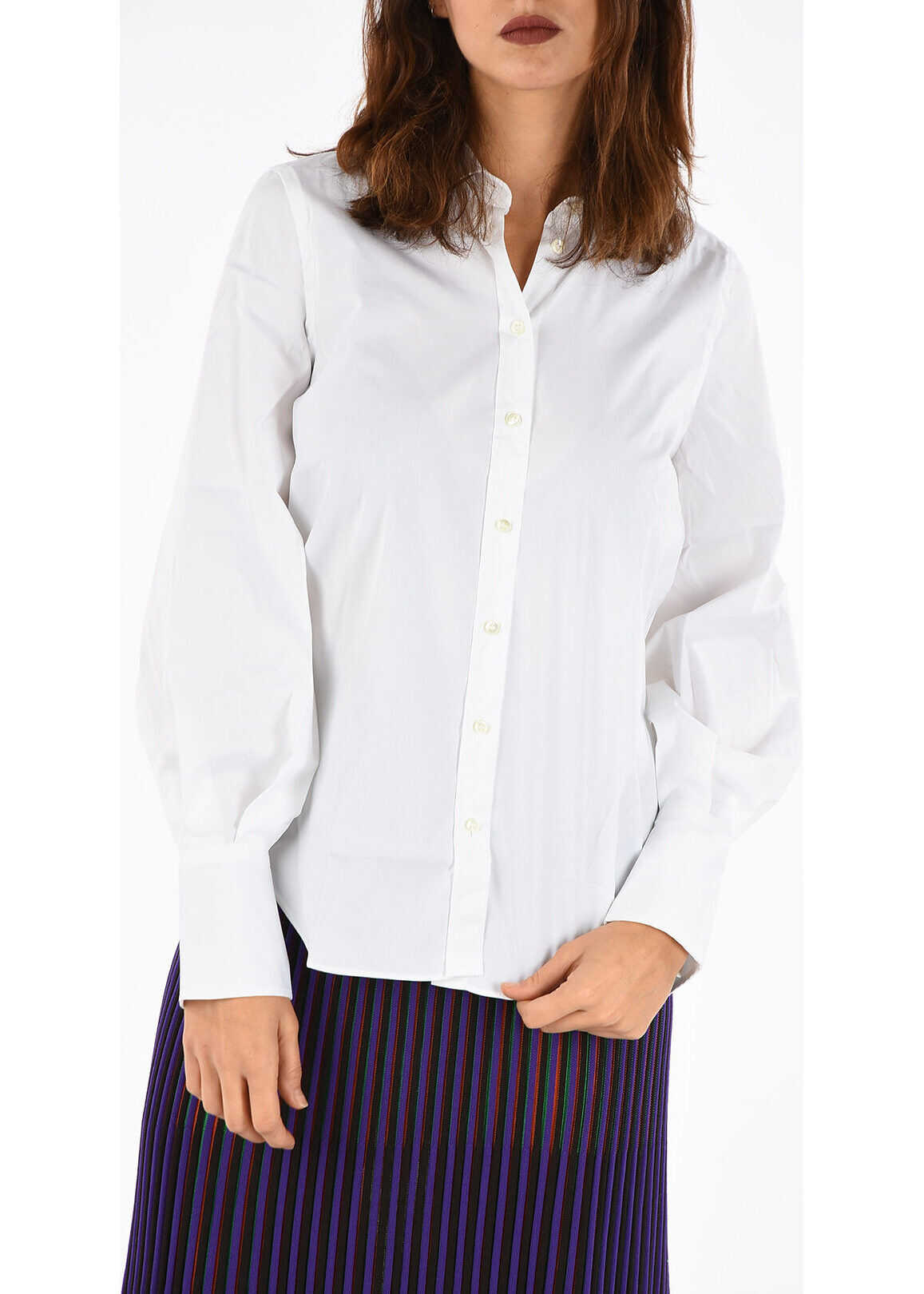 Brunello Cucinelli Shirt with Embroidery Brass Monile WHITE
