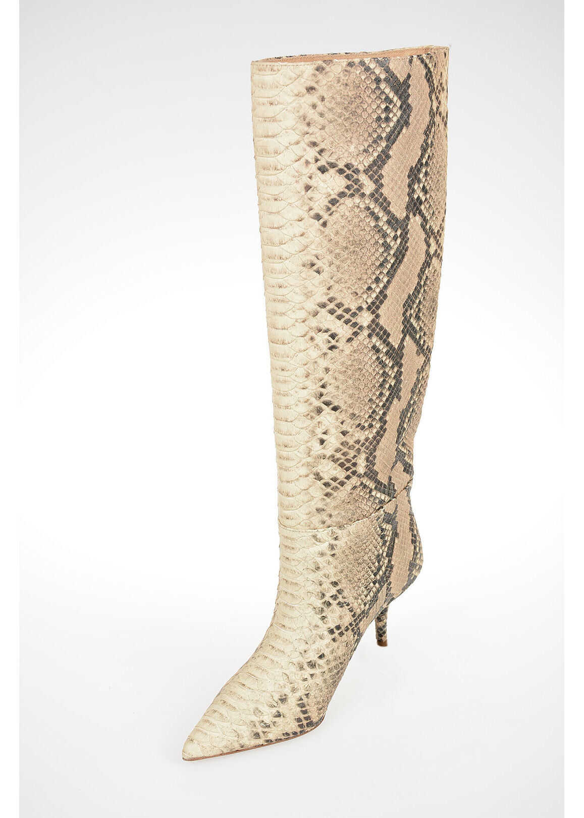 Yeezy SEASON 7 7cm Python Embossed Leather ROCCIA Boots BEIGE imagine b-mall.ro