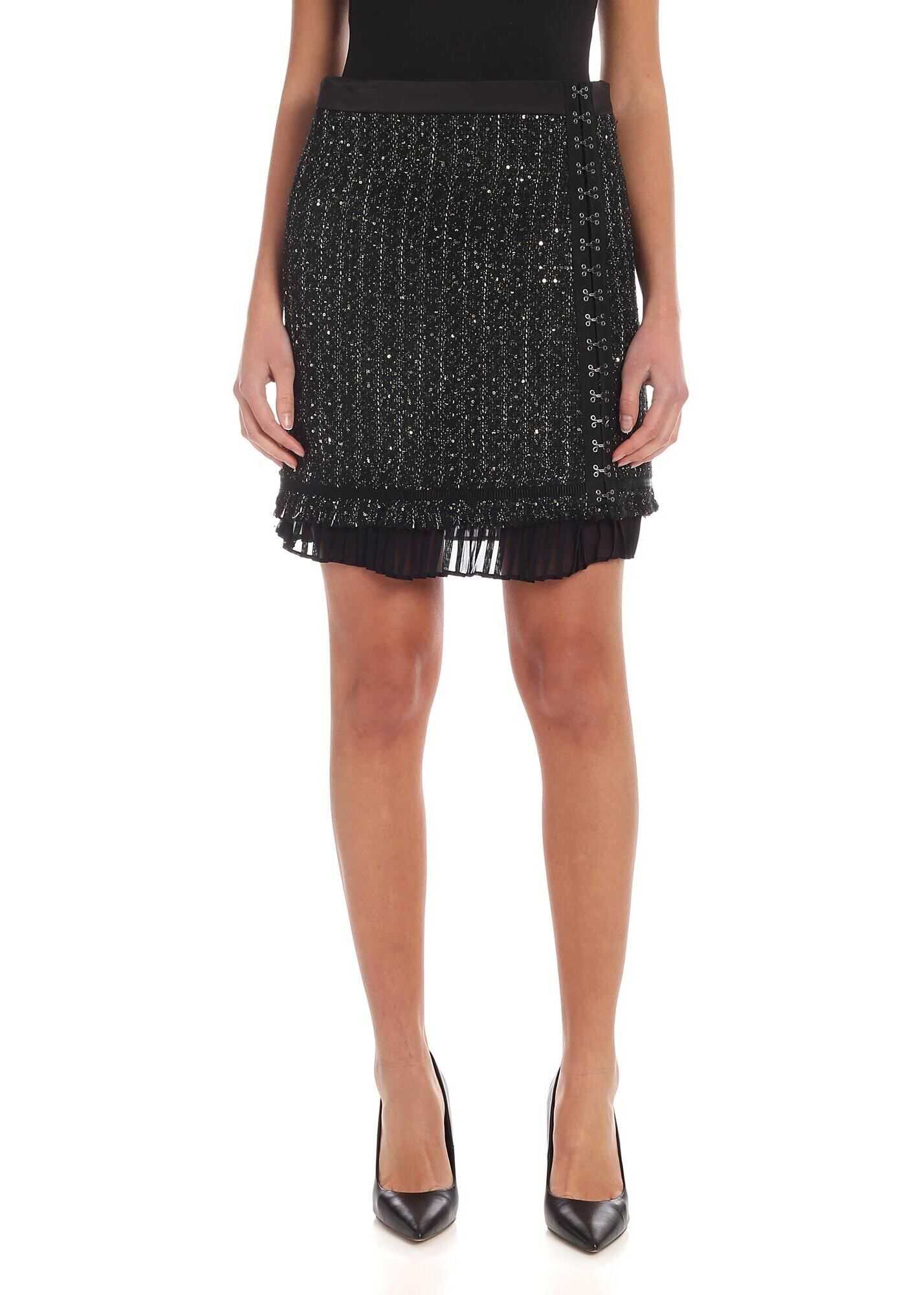 Sparkle Bouclè Skirt In Black thumbnail