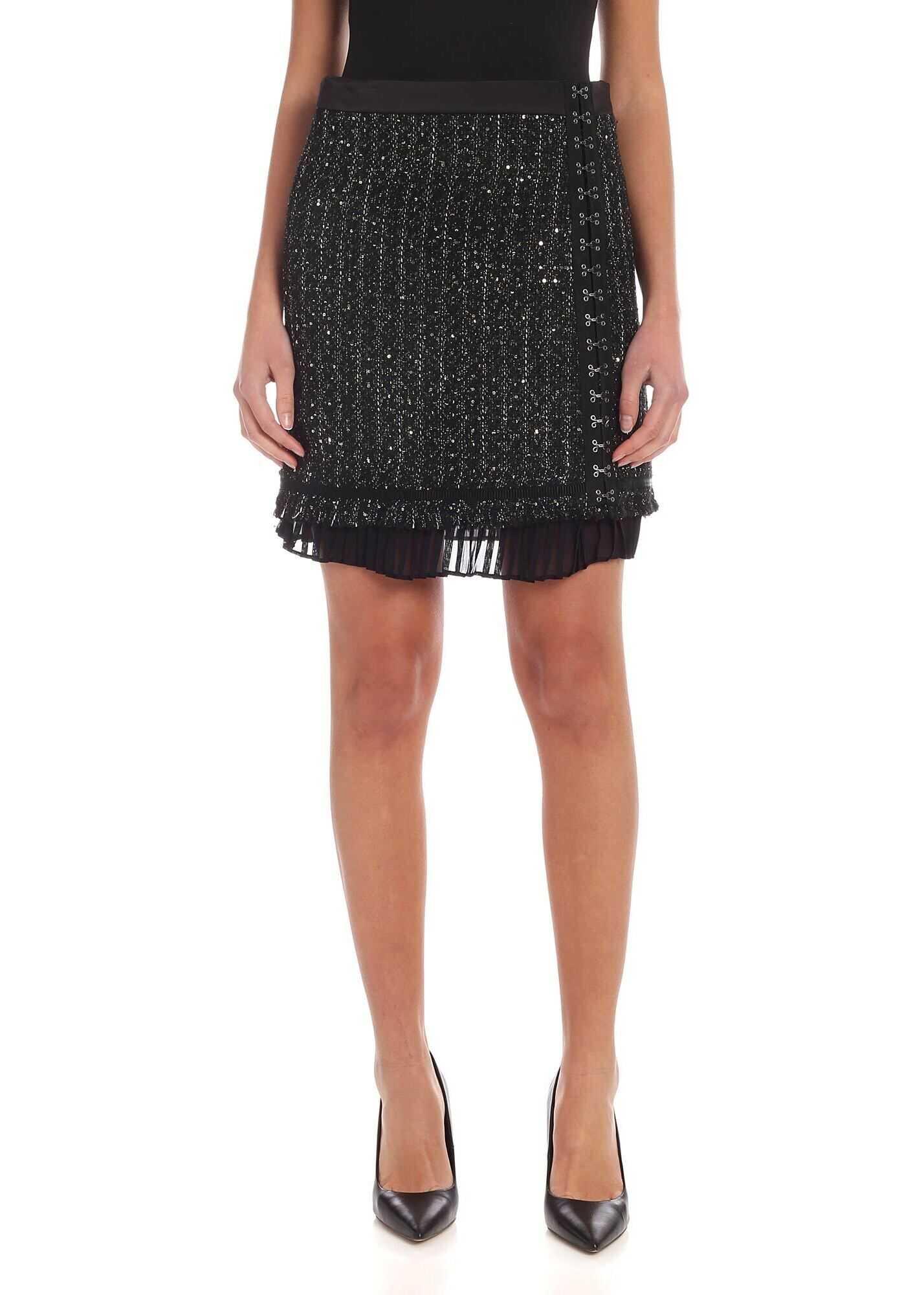 Sparkle Bouclè Skirt In Black thumbnail