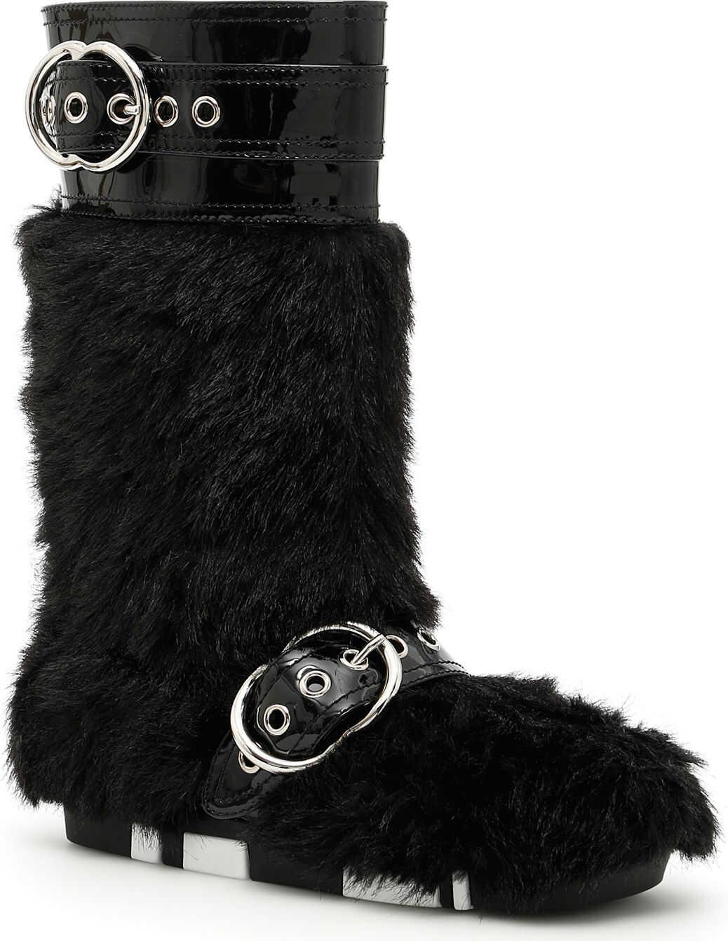 Miu Miu Faux Shearling And Patent Boots NERO
