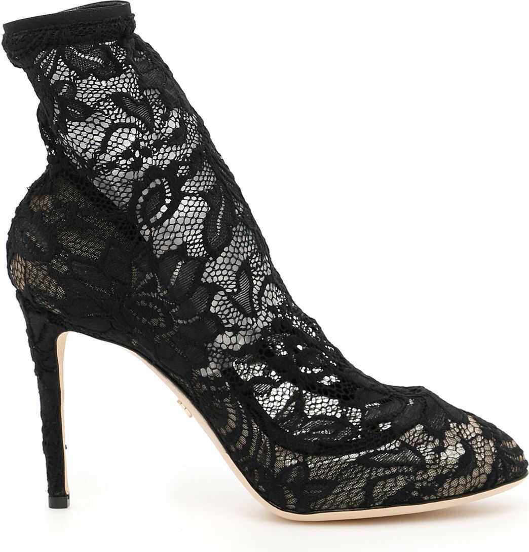 Dolce & Gabbana Stretch Lace Booties NERO