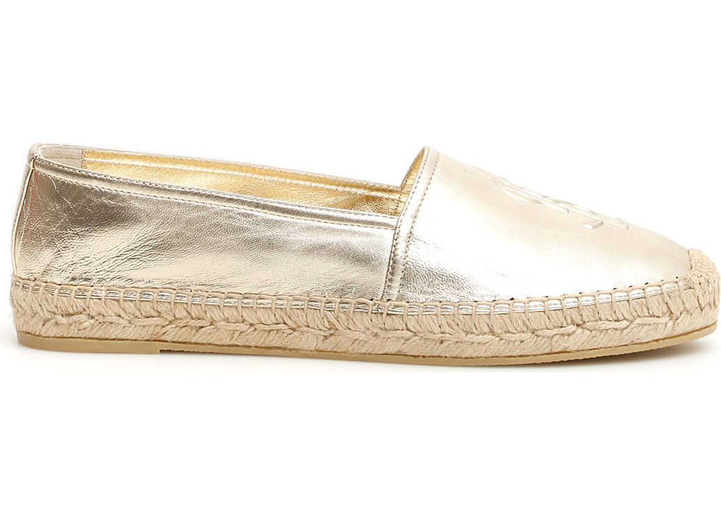 Saint Laurent Leather Logo Espadrilles PLATINO