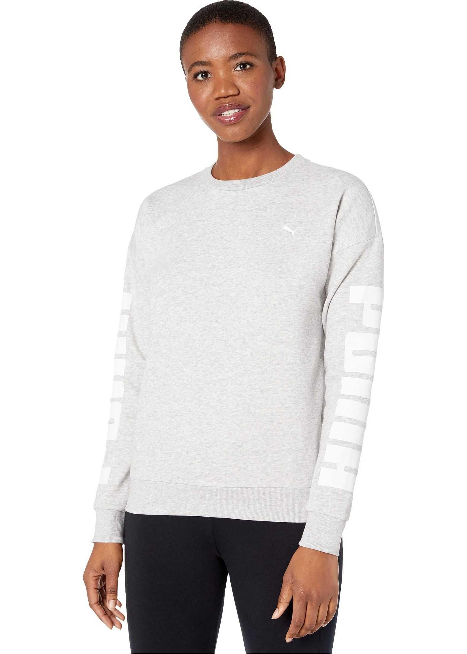 PUMA Rebel Fleece Crew Sweatshirt Light Gray Heather