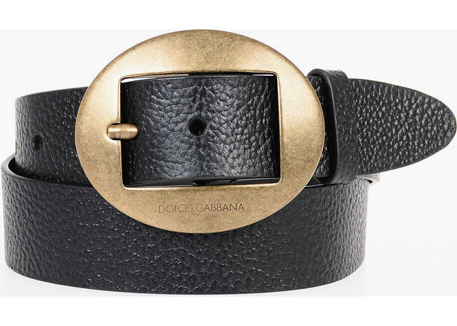 Dolce & Gabbana 40mm Leather Belt BLACK