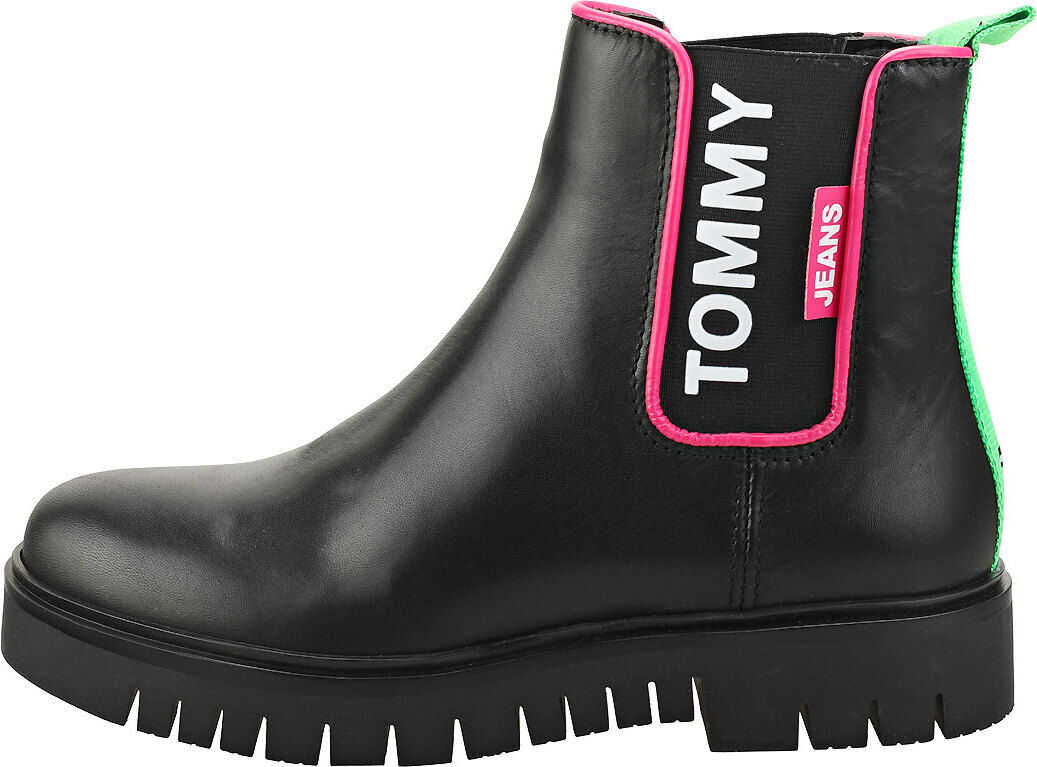 Tommy Jeans Neon Detail Chelsea Boot Chelsea Boots In Black Black