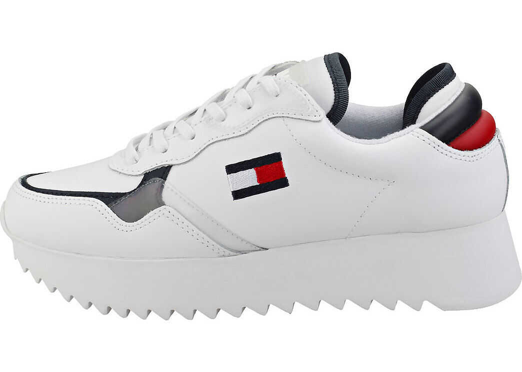 Tommy Jeans High Cleated Sneaker Fashion Trainers In White Navy Red White