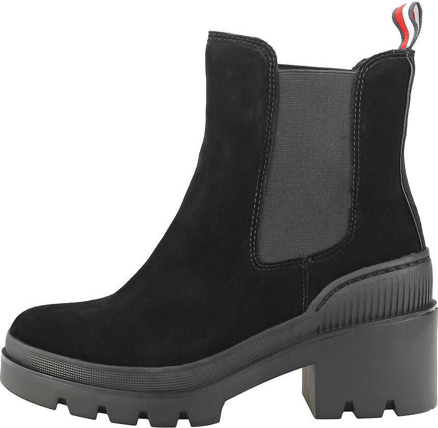 Tommy Hilfiger Sporty Chunky Bootie Chelsea Boots In Black Black