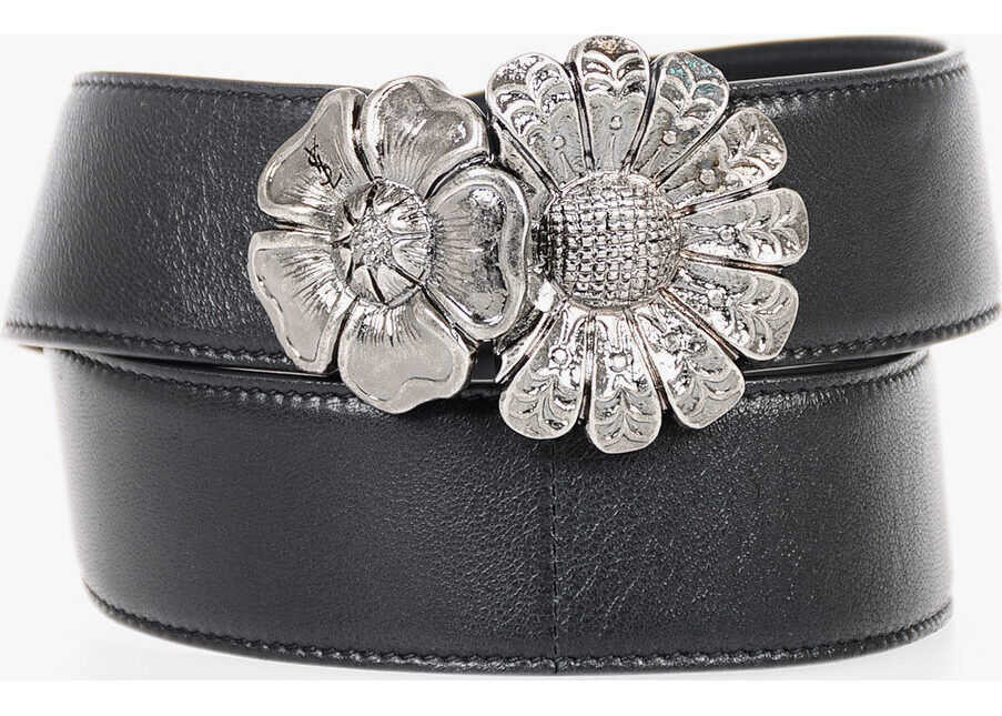 Saint Laurent 40mm Leather Flower Buckle Belt BLACK