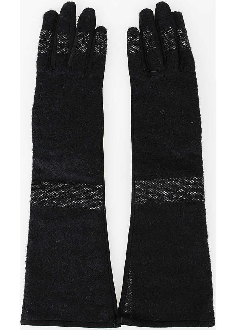 Dolce & Gabbana Wool Leather Opera Glover BLACK