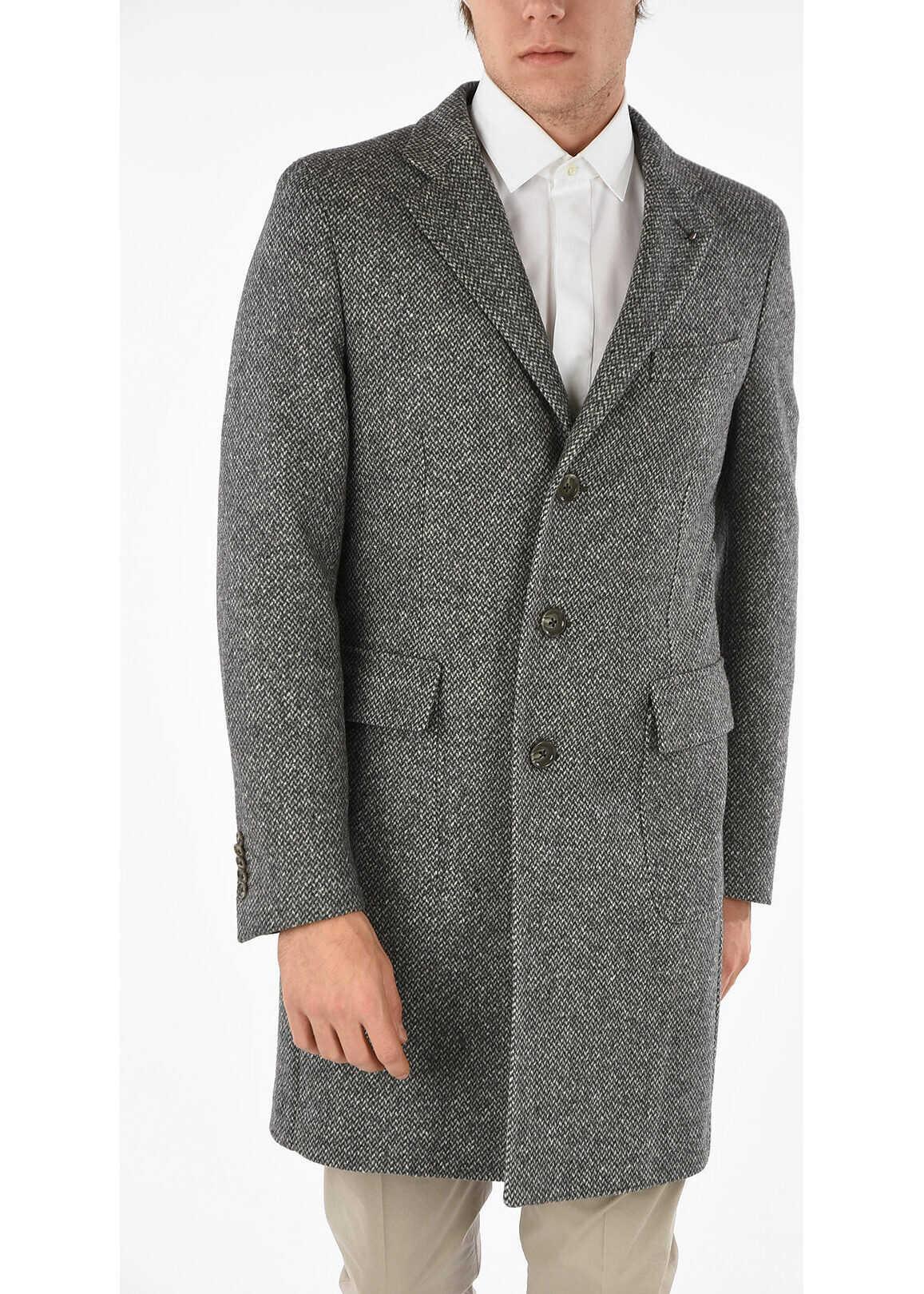 CORNELIANI CC COLLECTION 3 Button Tweed Chesterfield Coat GRAY