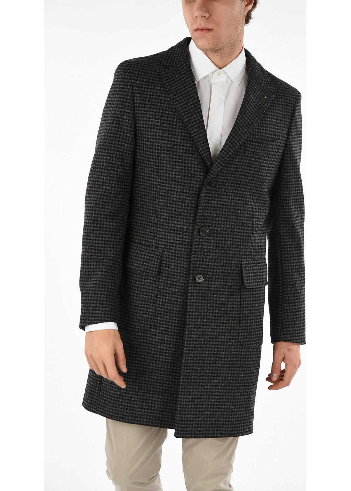 CORNELIANI CC COLLECTION 3 Button Pied De Poule Chesterfield Coat GRAY