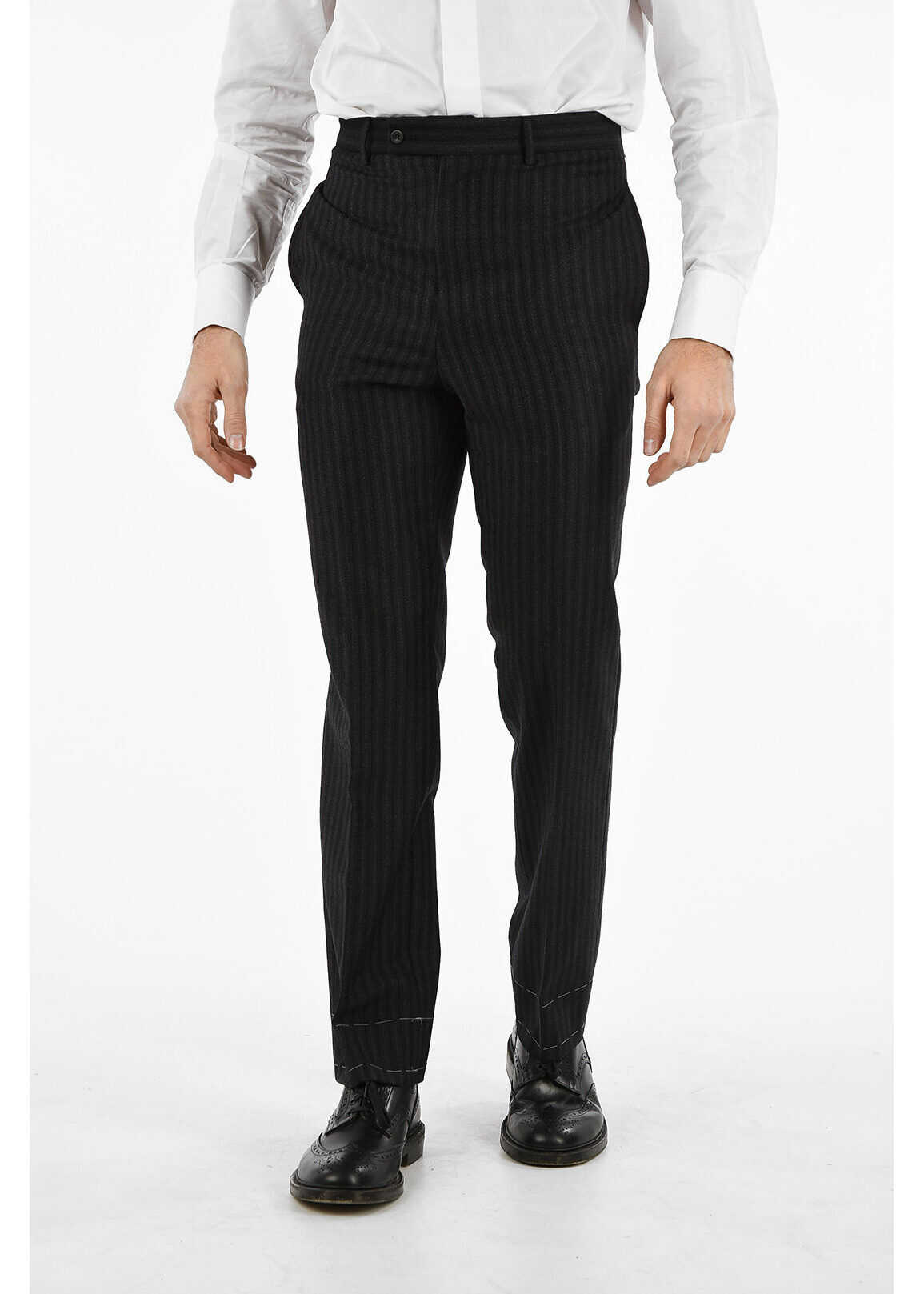 pencil striped Mid-rise waist no hem pants thumbnail
