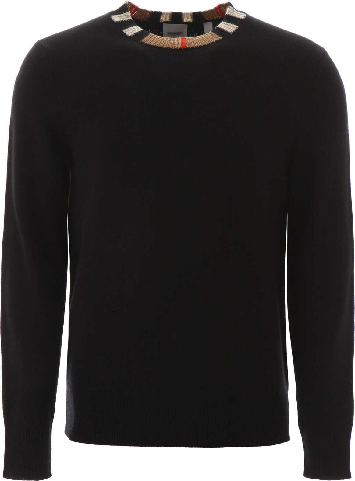 Burberry Pullover With Striped Neck BLACK