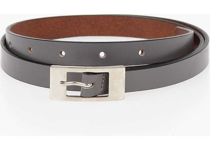 Maison Margiela MM11 15mm Leather Skinny Belt GRAY