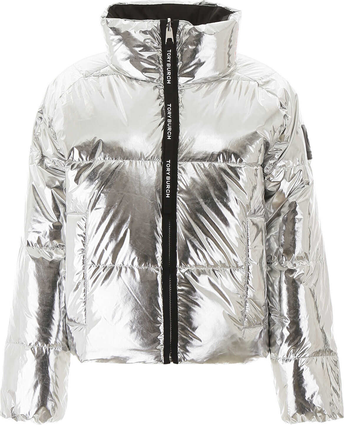 Tory Burch Reversible Puffer Jacket With Logo SILVER PERFECT BLACK