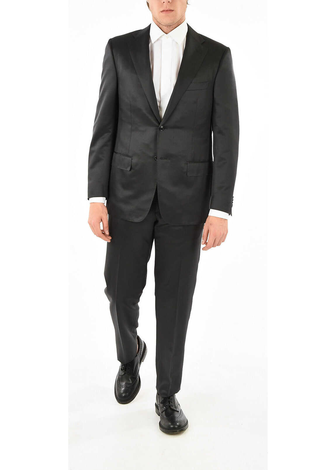 CORNELIANI Silk and Virgin Wool MANTUA Suit BLACK imagine