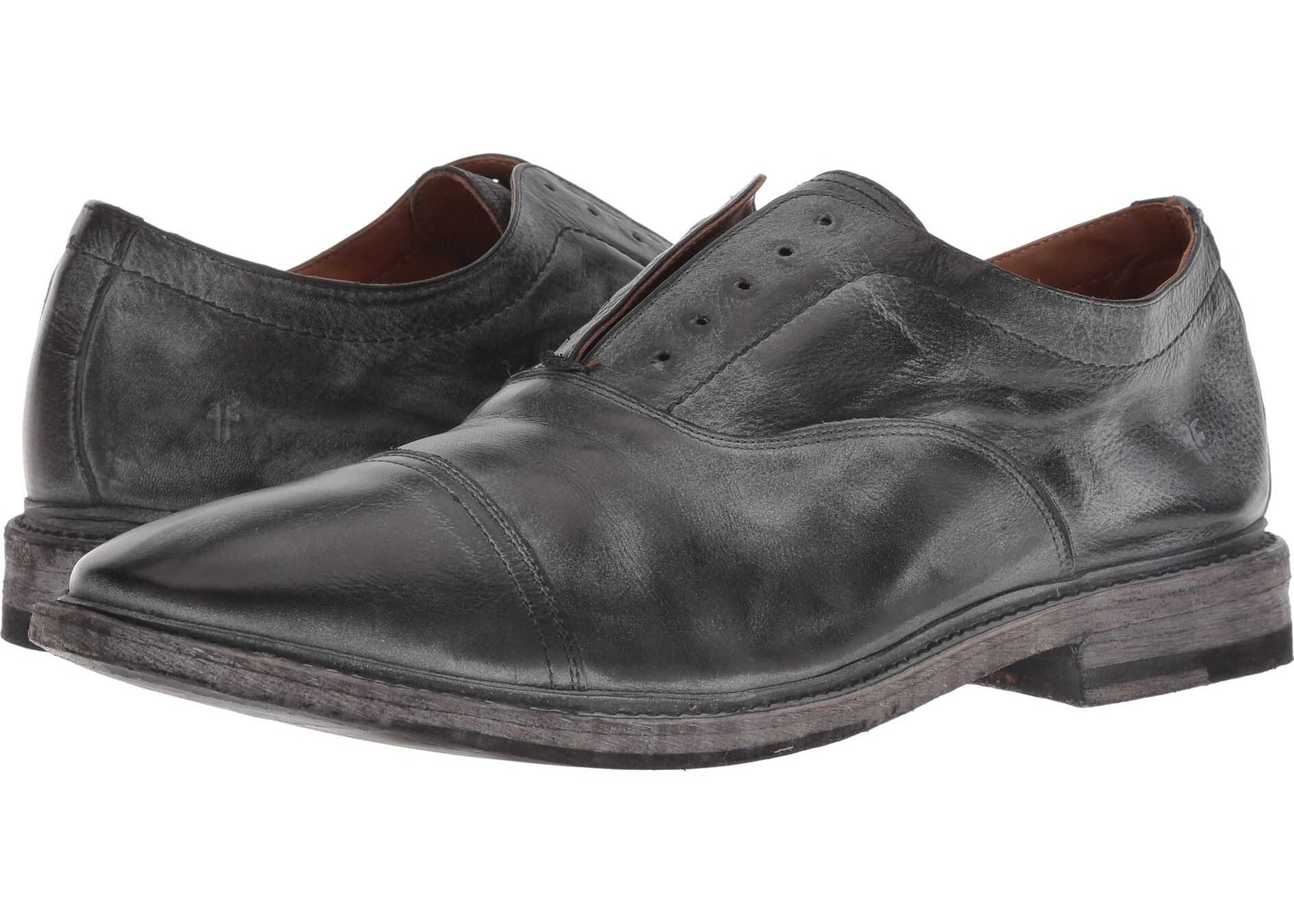 Frye Paul Bal Oxford Black Waxed Polished Soft Full Grain