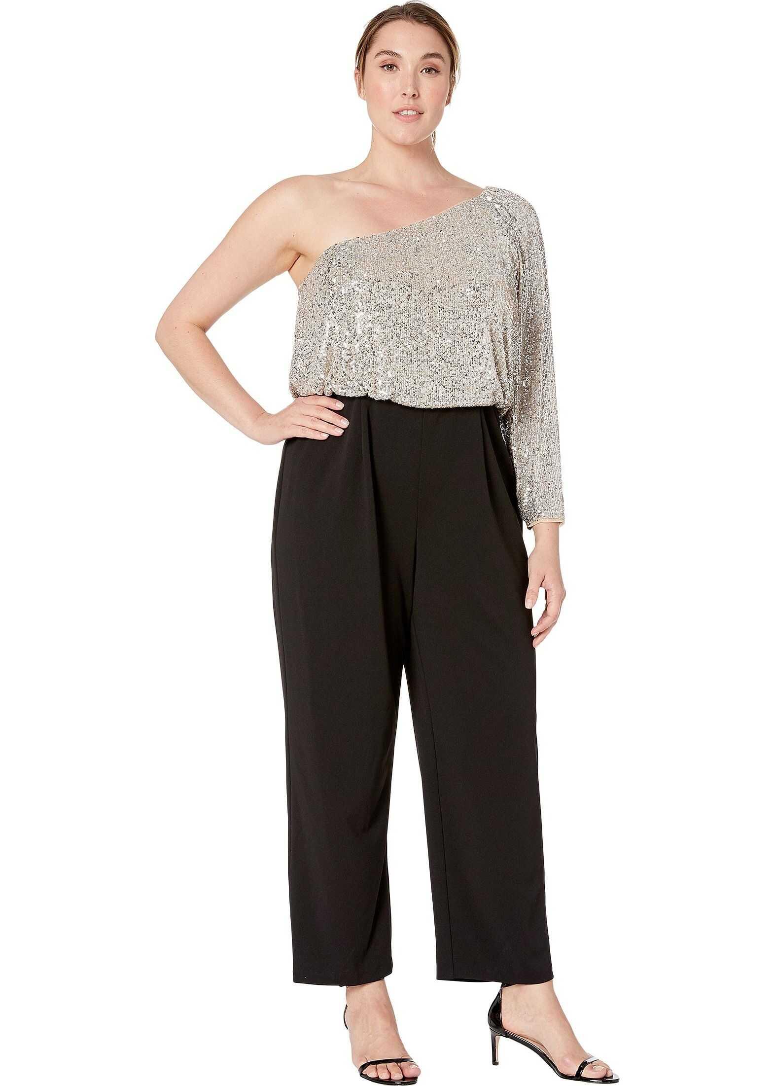 Adrianna Papell Plus Size One Shoulder Sequin Jumpsuit Silver/Black