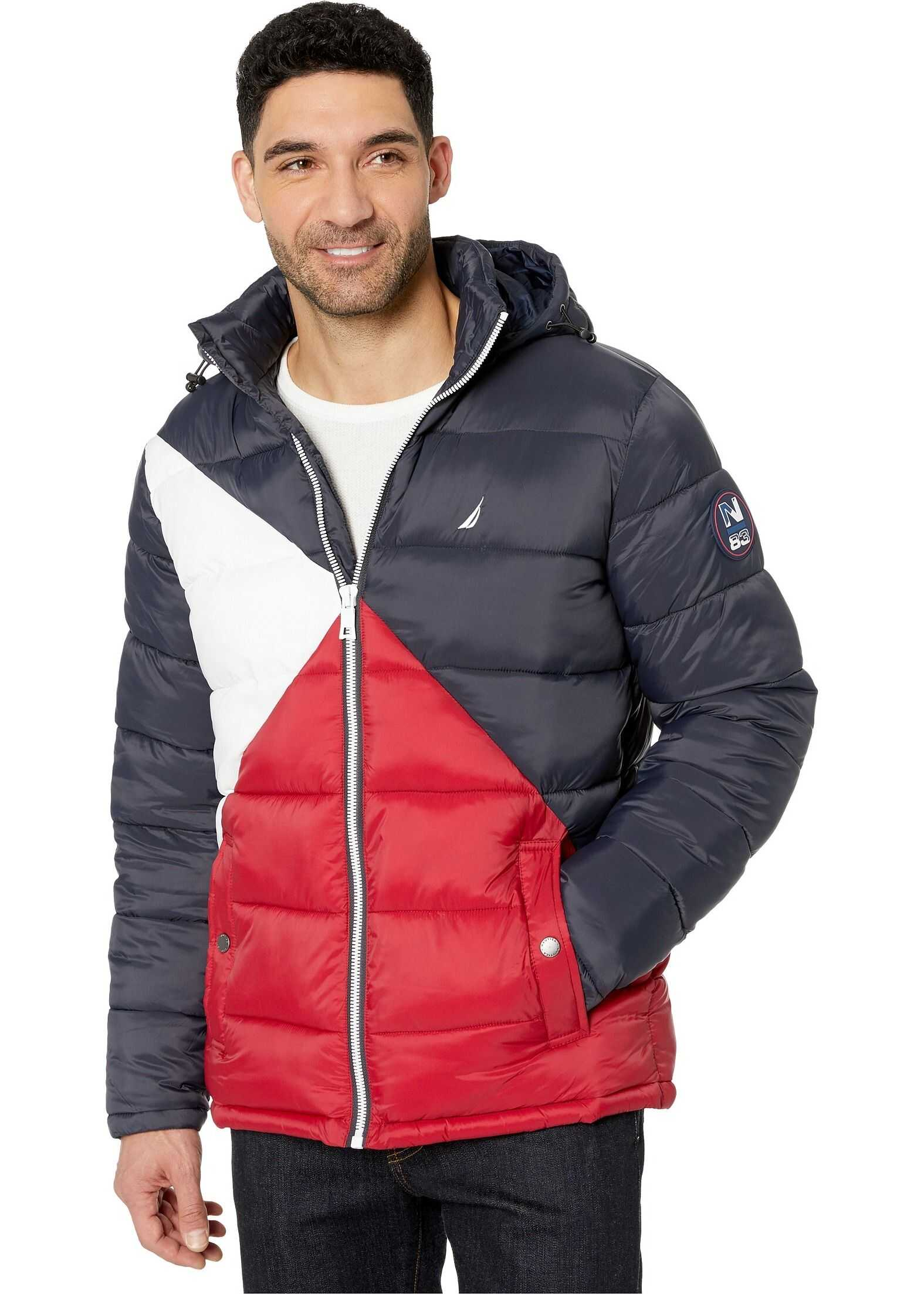 Nautica Hooded Logo Color Block Puffer Navy Seas/White/Red