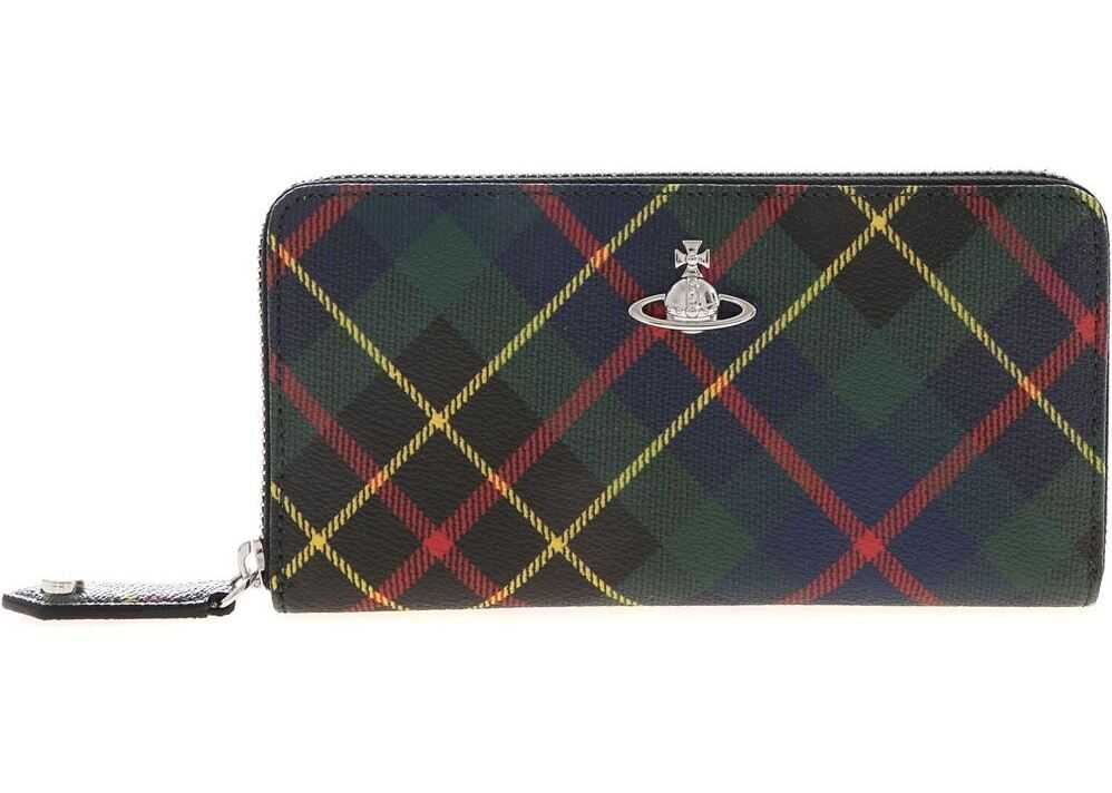 Vivienne Westwood Derby Classic Hunting Tartan Wallet In Green Multi