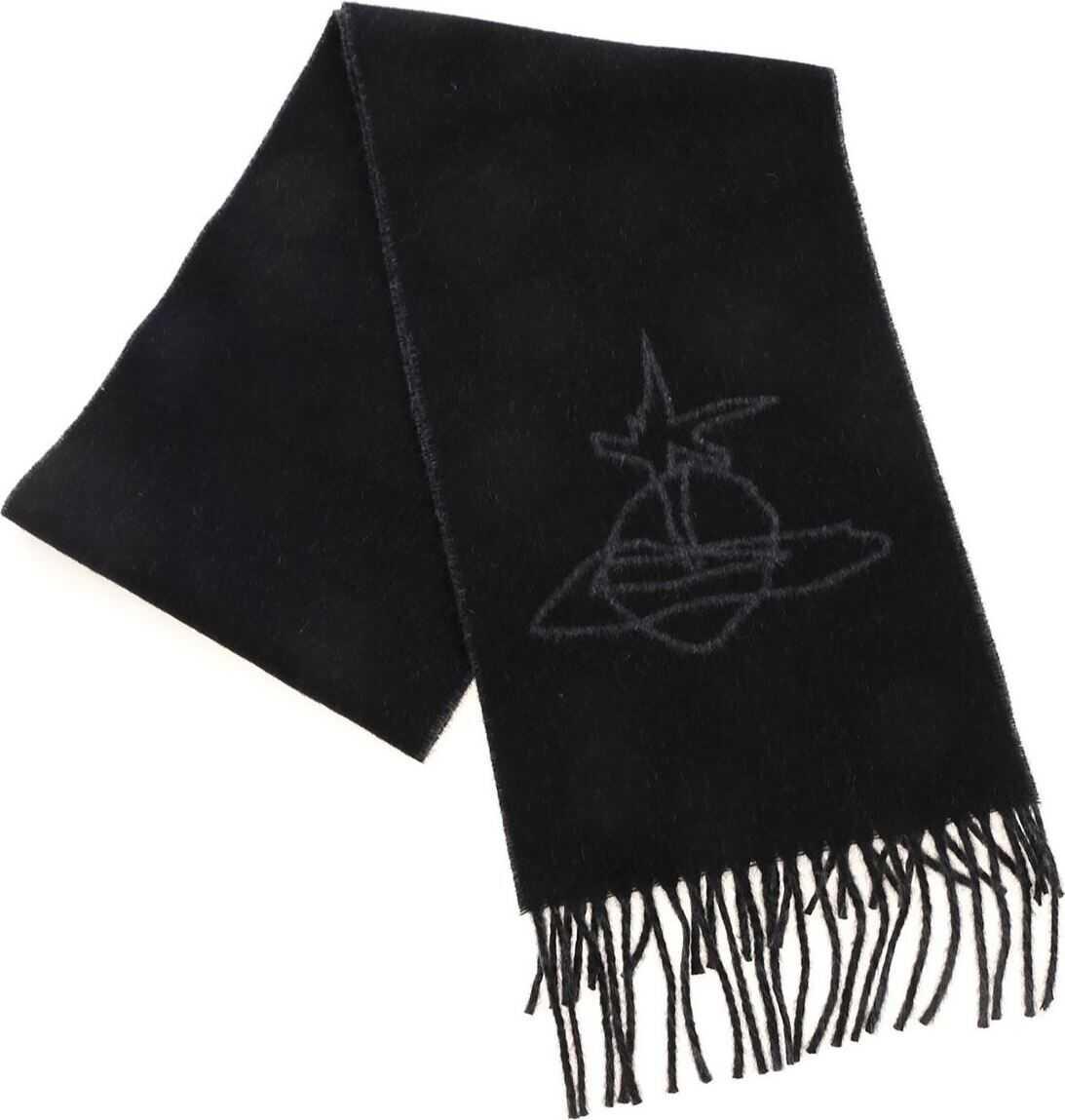 Vivienne Westwood Scribble Orb Scarf In Black And Gray Black