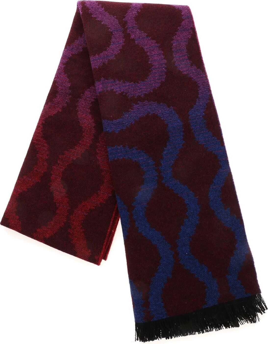 Vivienne Westwood Squiggle Fire Scarf In Burgundy Red