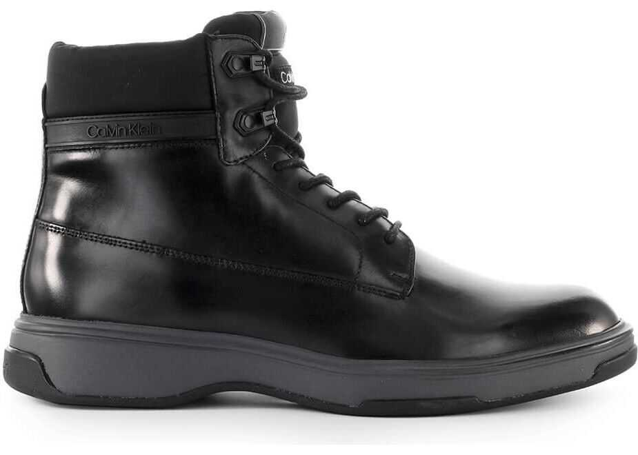 Calvin Klein Leather Ankle Boots BLACK