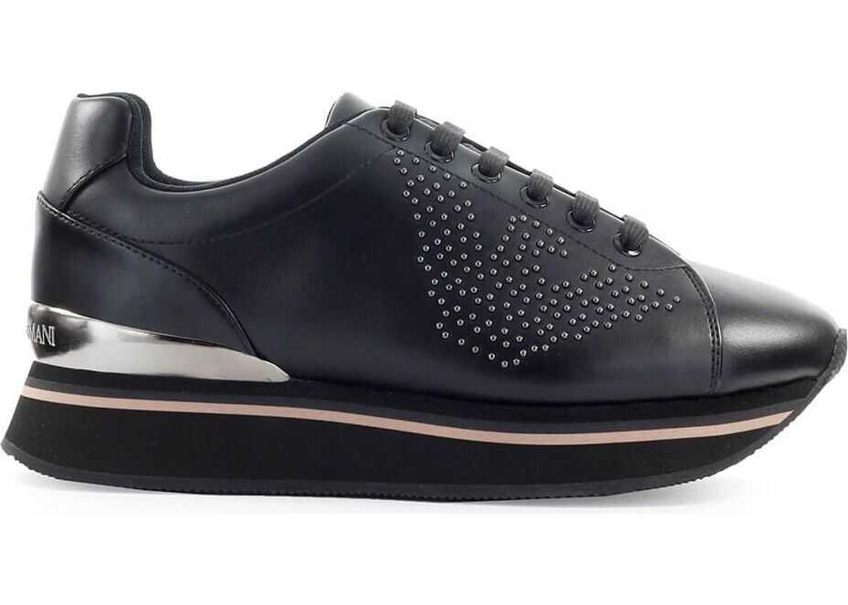 Emporio Armani Leather Sneakers BLACK