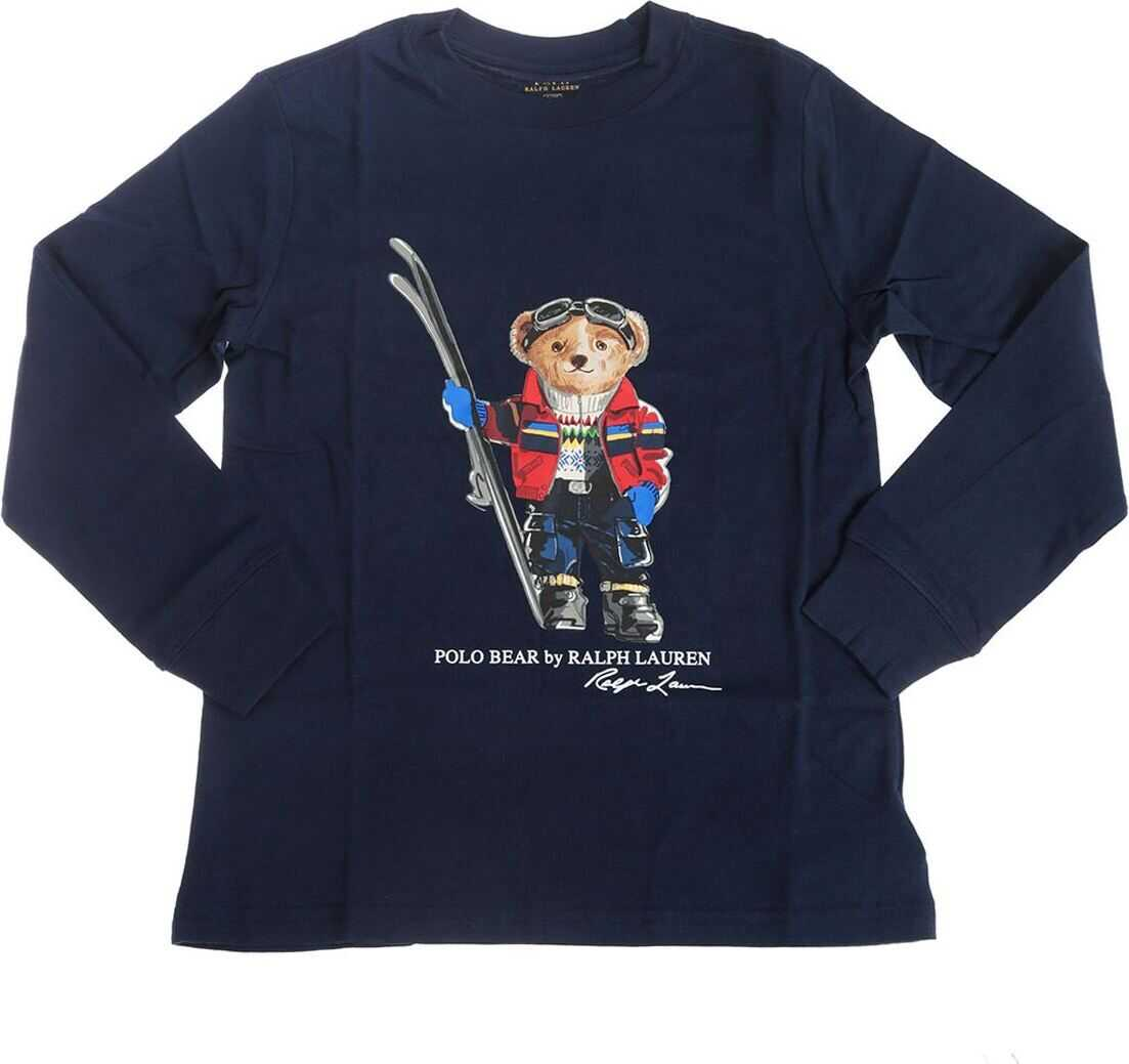 Polo Bear Holiday Long Sleeve T-Shirt In Navy