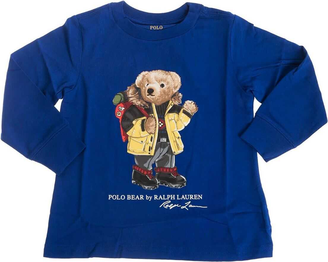 Polo Bear Holiday Long Sleeve T-Shirt In Blue