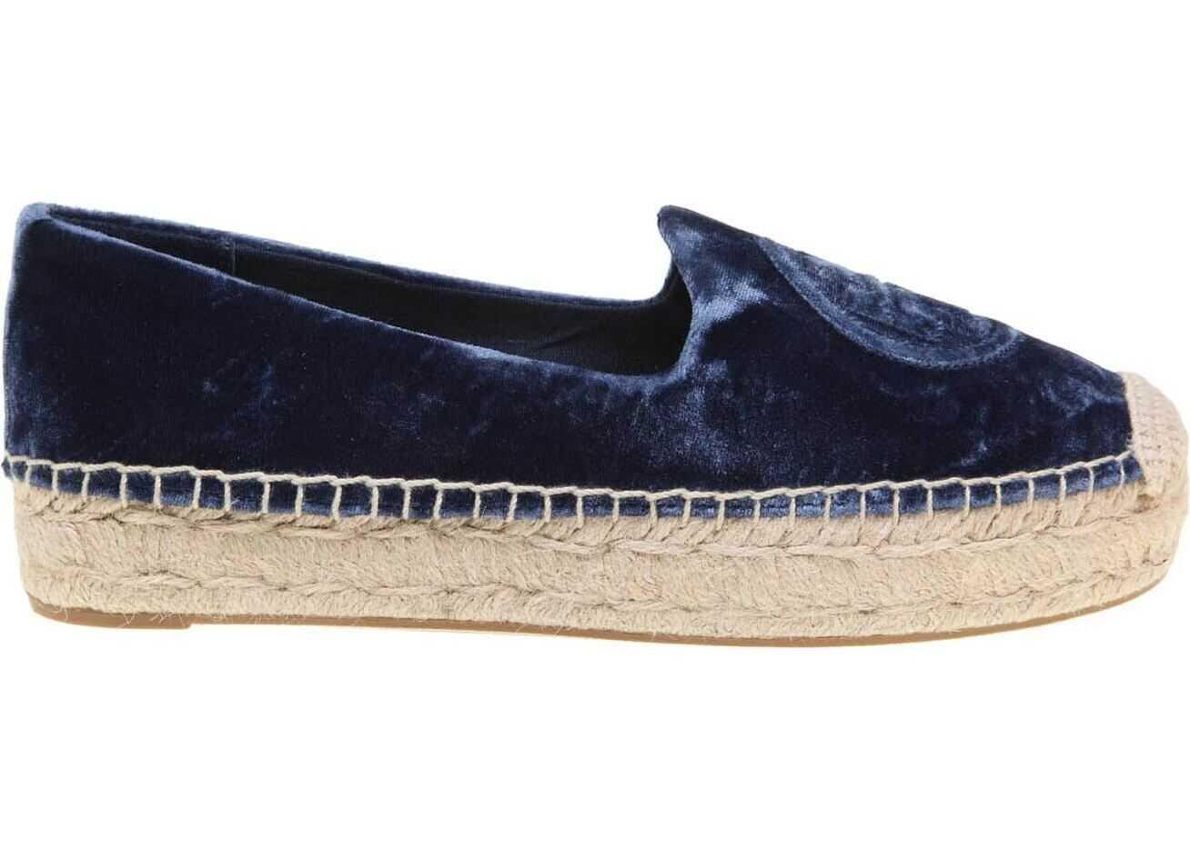 Velvet Platform Espadrille In Blue thumbnail