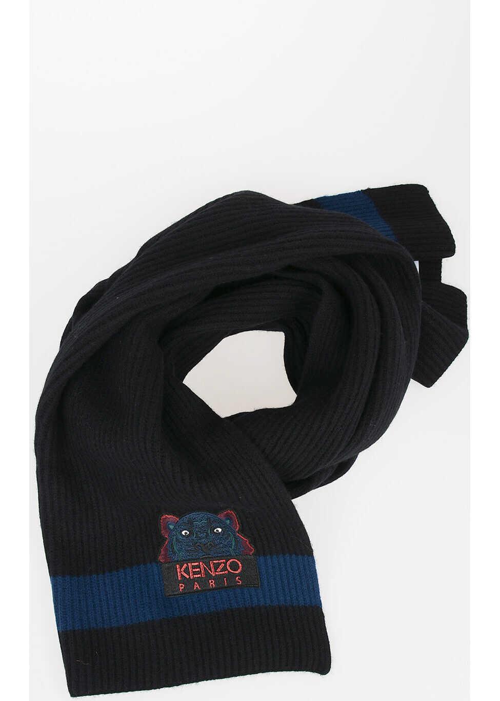 Kenzo Wool Ribbed Scarf BLACK