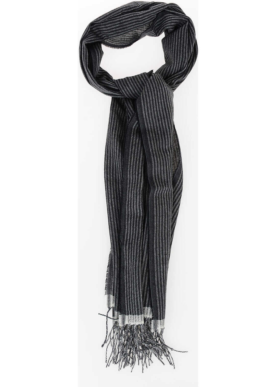 CORNELIANI Striped Scarf BLACK