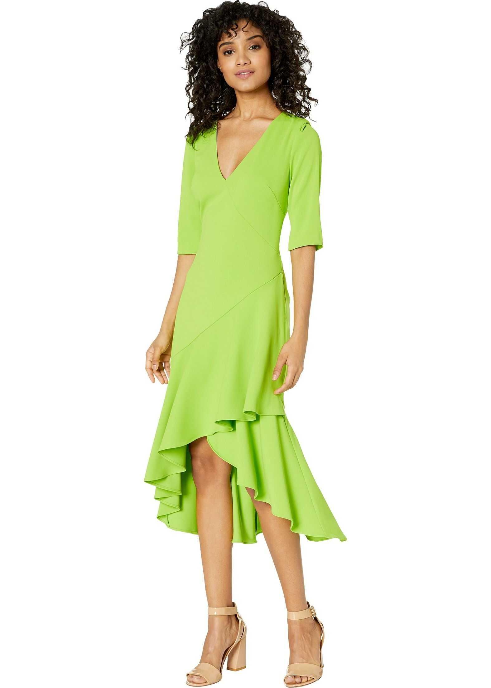 Badgley Mischka Side Ruffle Dress Lime