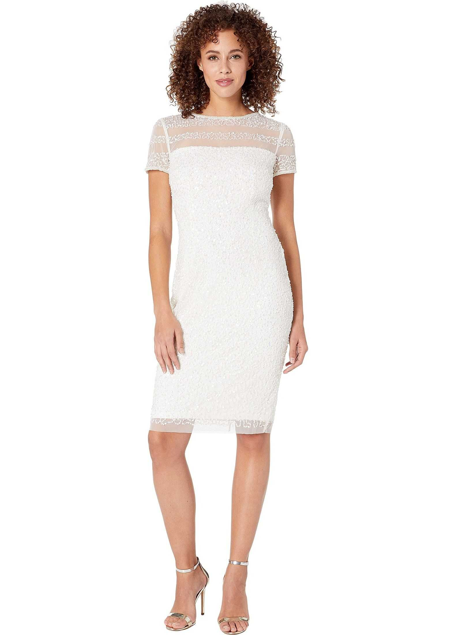 Adrianna Papell Beaded Illusion Cocktail Dress Ivory