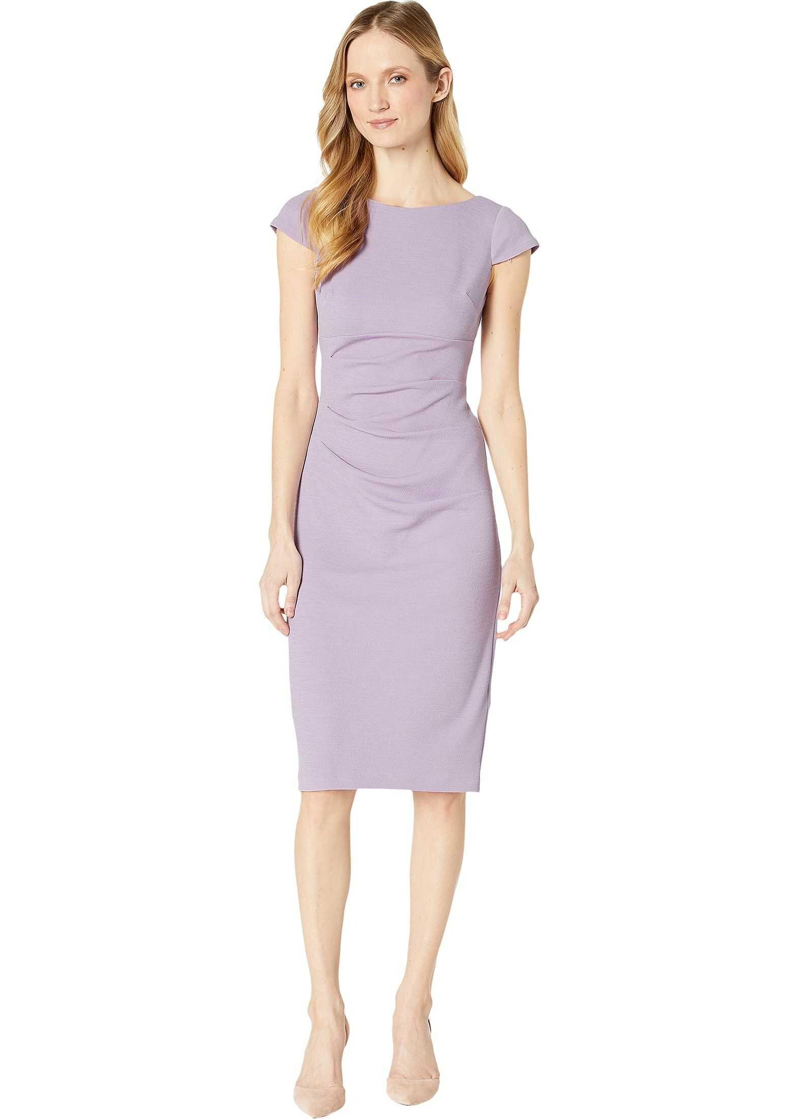 Adrianna Papell Rio Knit Tucked Sheath Dress Iced Lilac