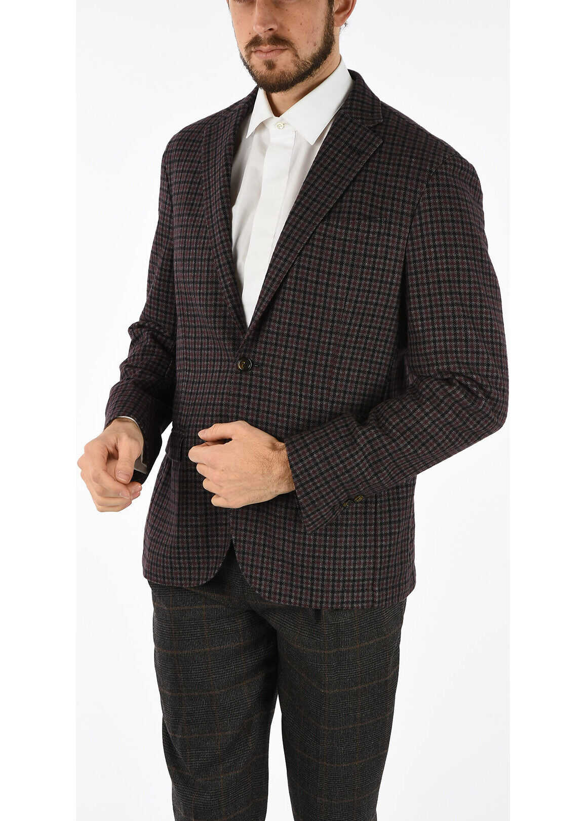 CC COLLECTION shephard's check side vents 2-button blazer thumbnail