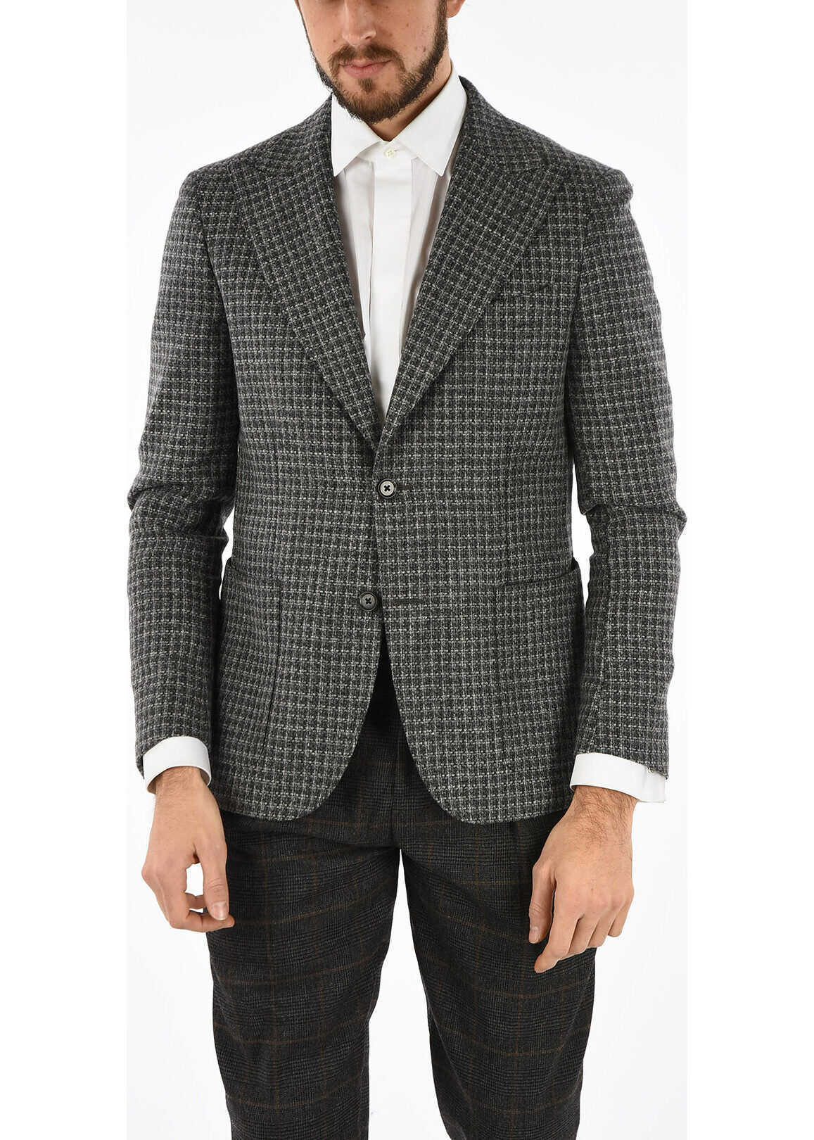 CC COLLECTION tattersall check side vents 2-button blazer thumbnail