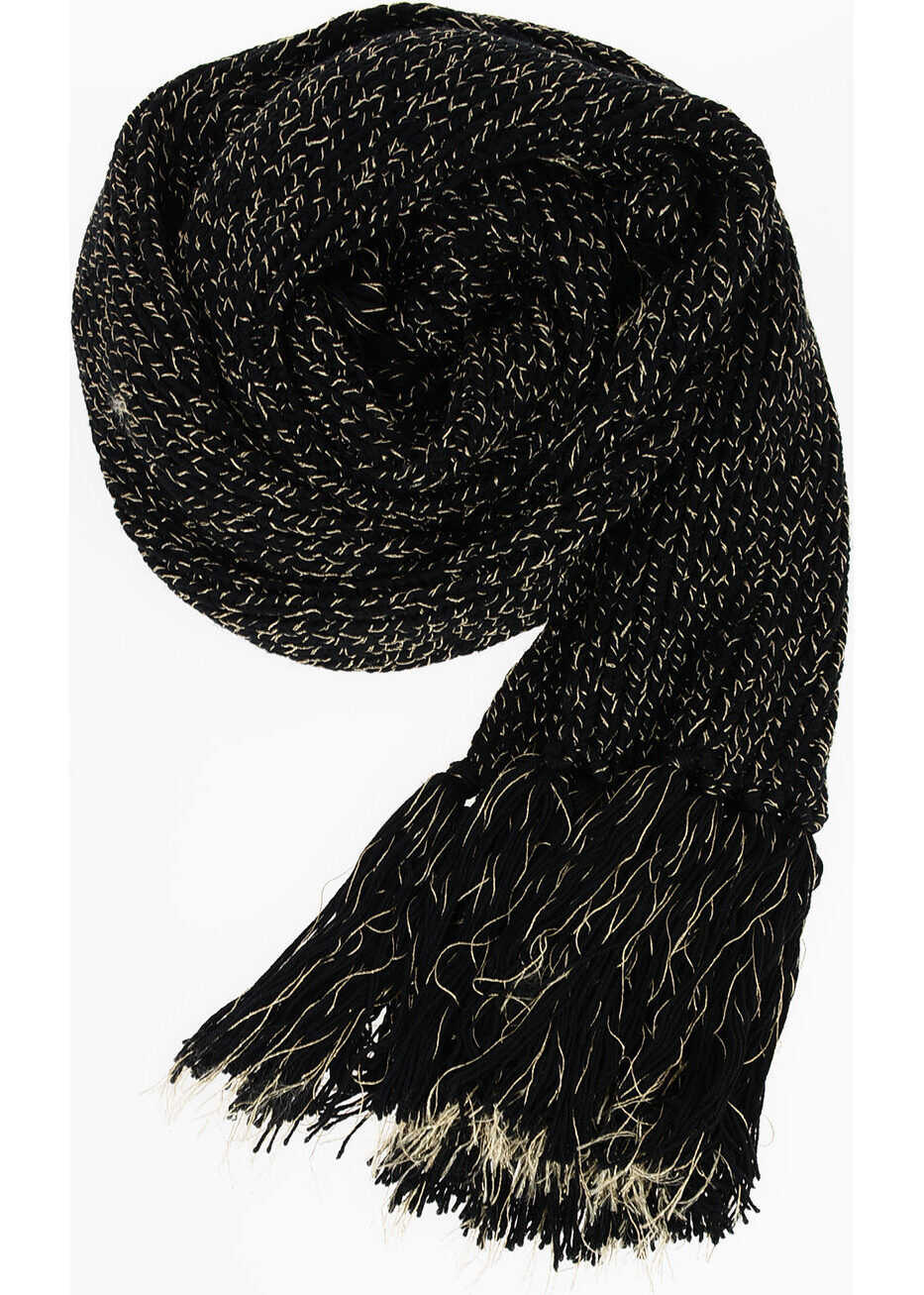 Saint Laurent Wool blend Knitted Scarf BLACK