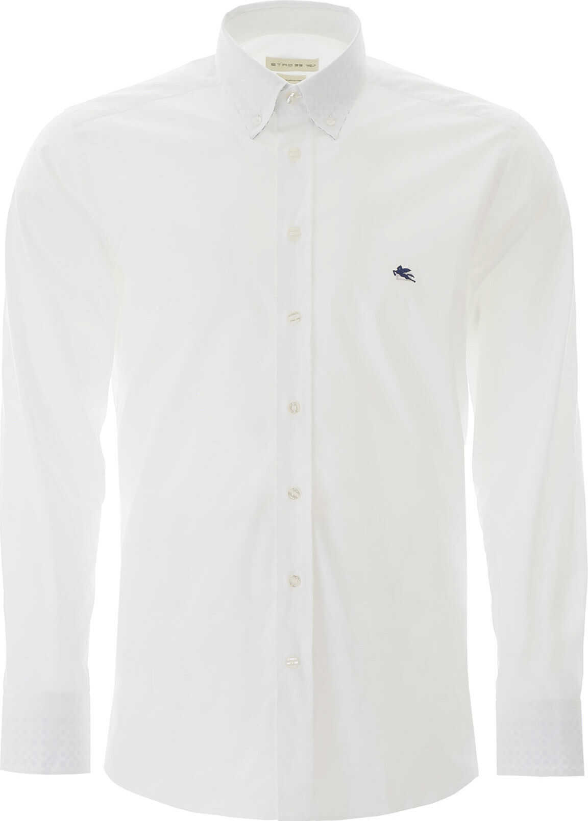 ETRO Button-Down Shirt With Pegaso Embroidery BIANCO